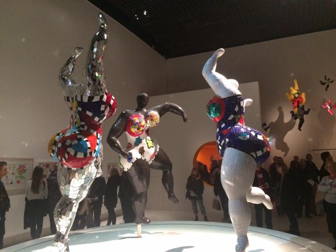 Three of Niki de Saint Phalle's 'nana' sculptures