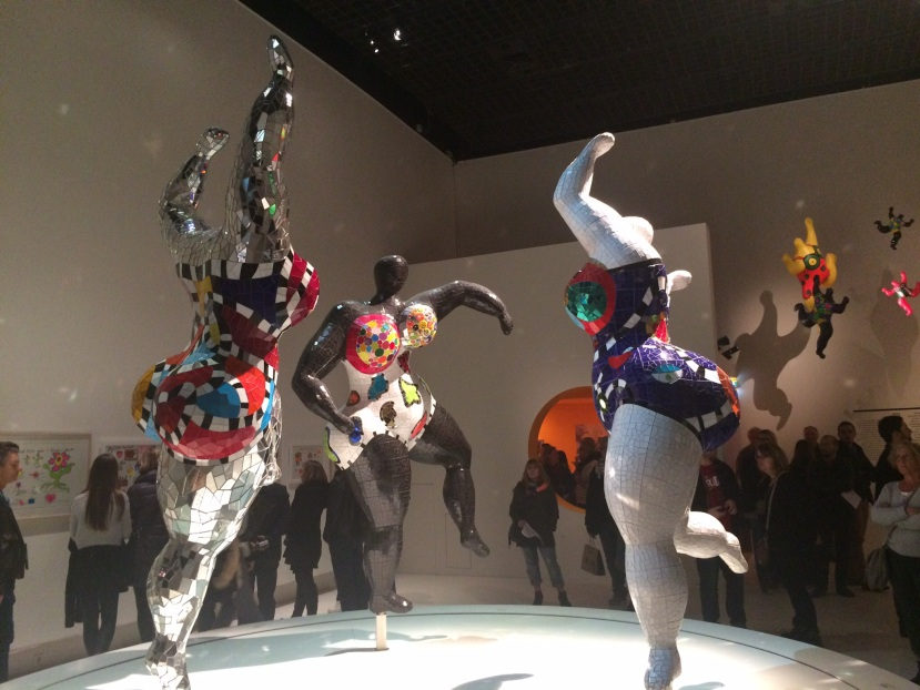 Three of Niki de Saint Phalle's 'nana' sculptures